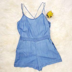 LOFT Light Blue Denim Criss Cross Shorts Romper